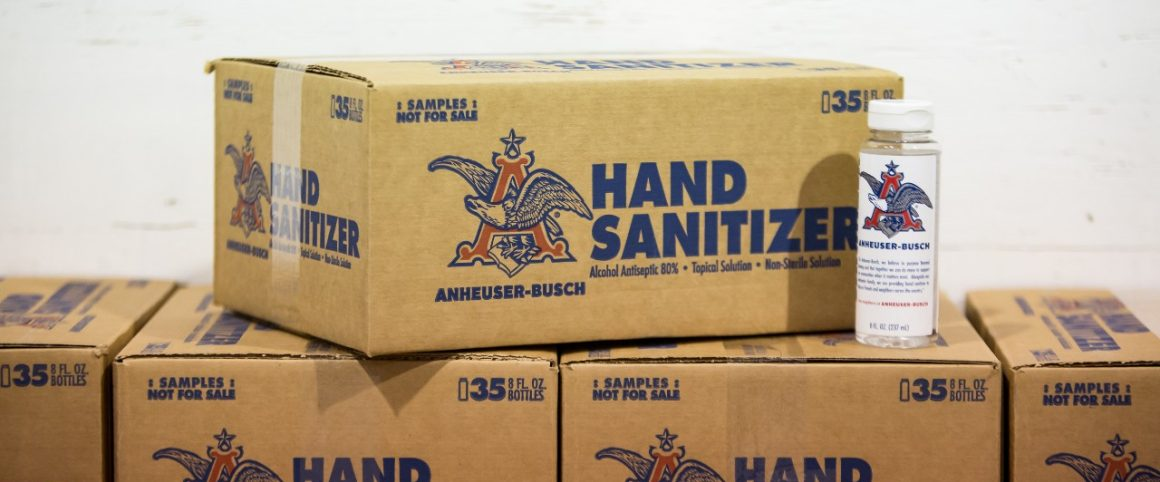Boxes of Anheuser-Busch hand sanitizer