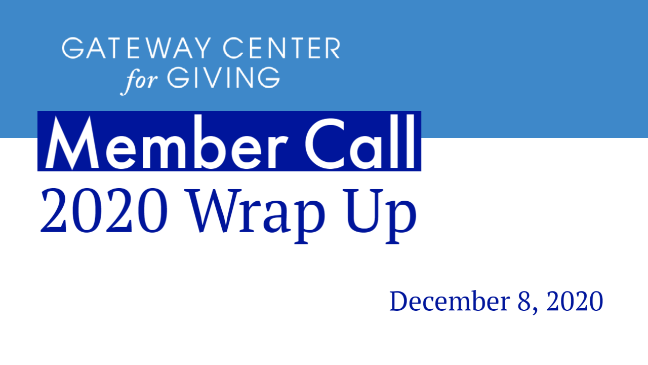 Slide with the text Member Call 2020 Wrap Up