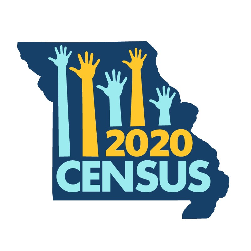 Outline of Missouri with the text 2020 Census inside