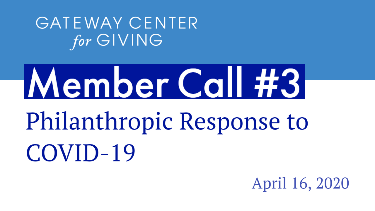 Slide with the text Member Call #3 Philanthropic Response to COVID-19