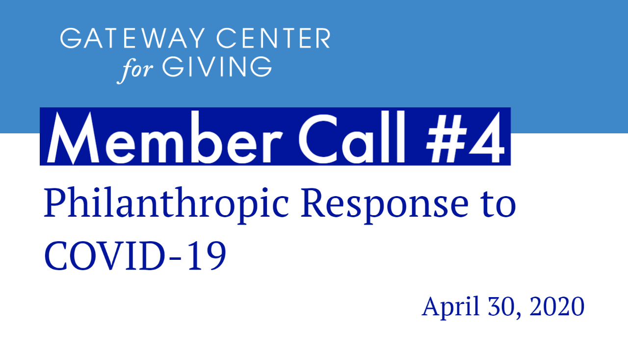 Slide with the text Member Call #4 Philanthropic Response to COVID-19