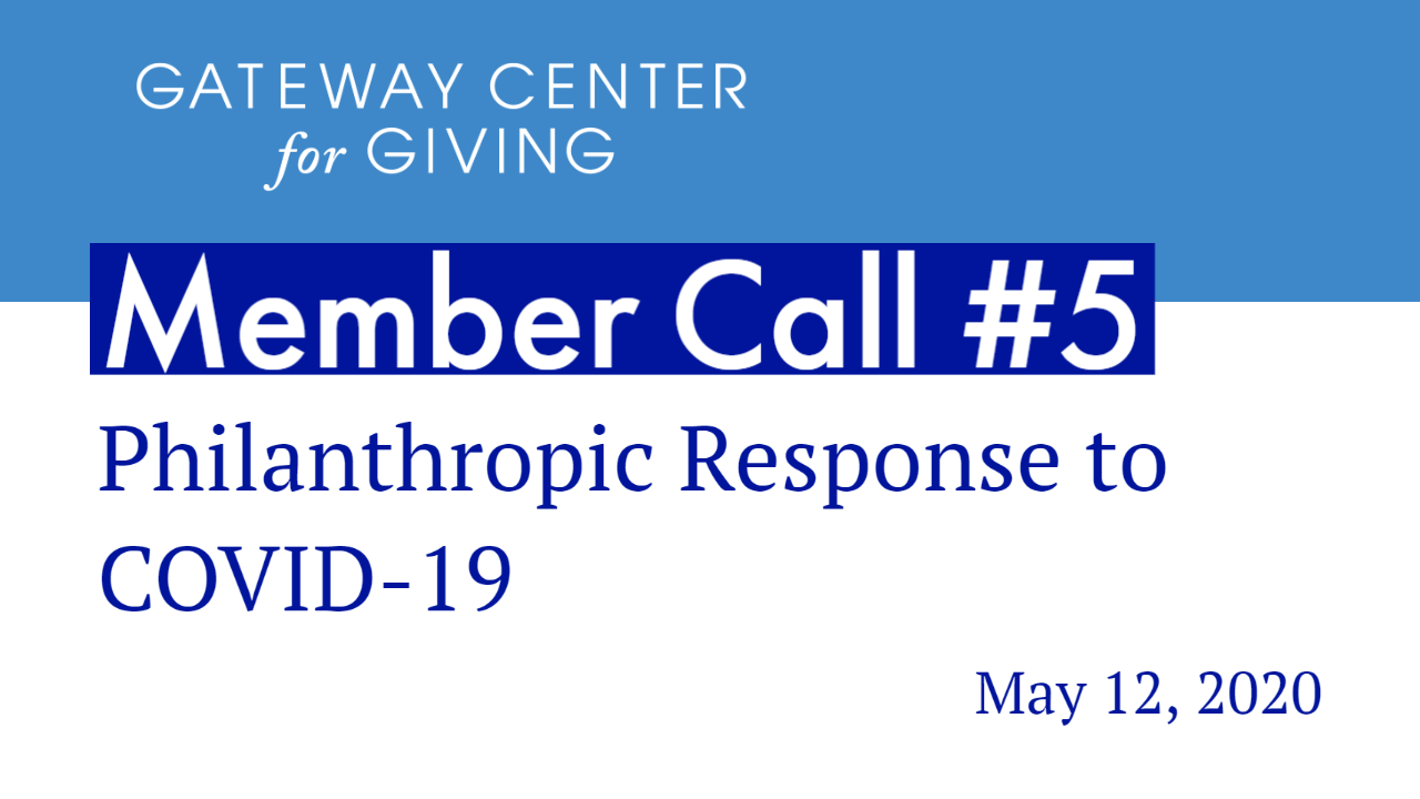 Slide with the text Member Call #5 Philanthropic Response to COVID-19