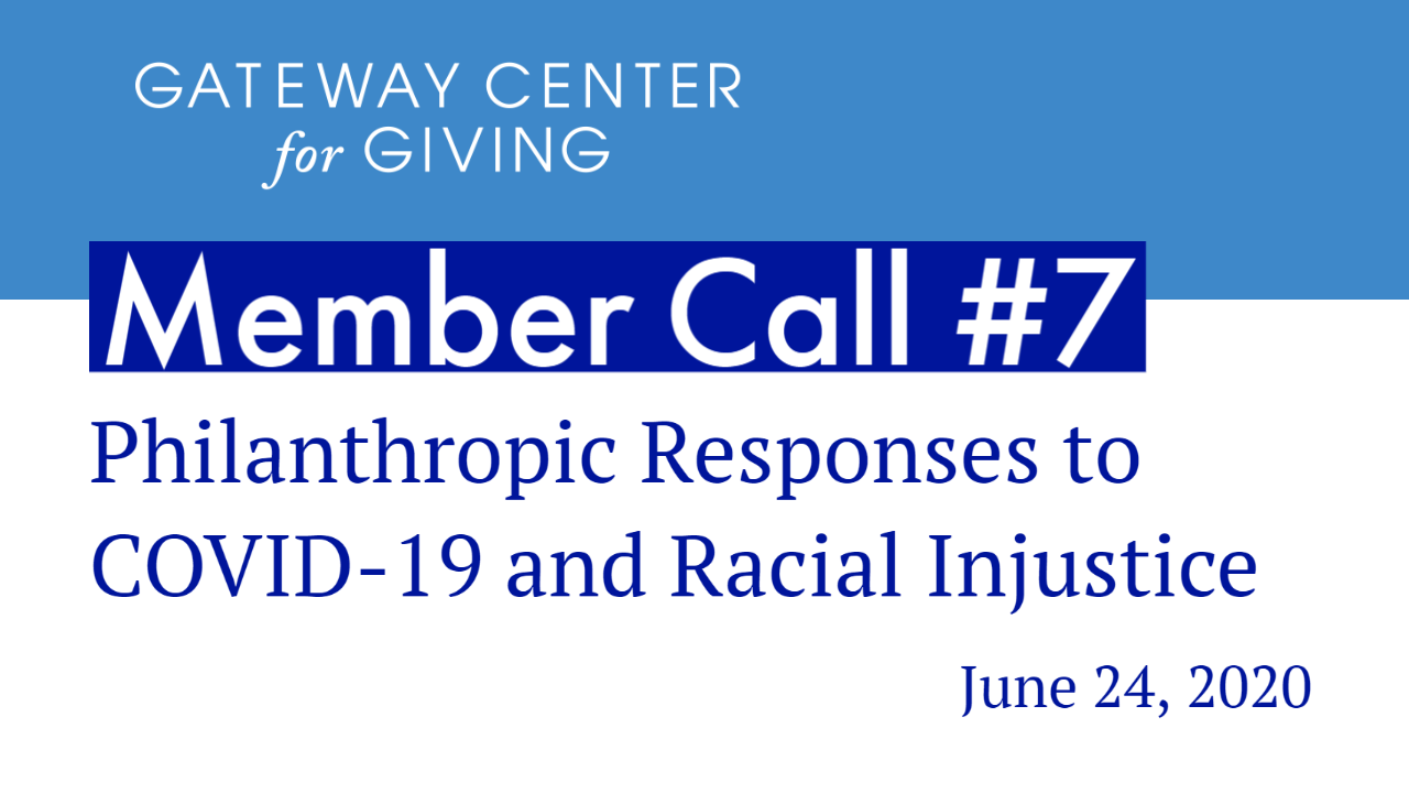 Slide with the text Member Call #7 Philanthropic Responses to COVID-19 and Racial Injustice