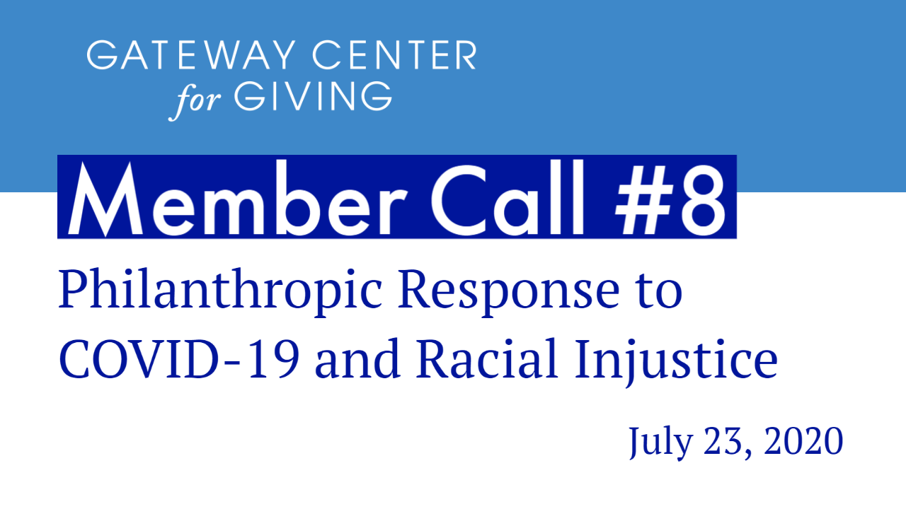 Slide with the text Member Call #8 Philanthropic Response to COVID-19 and Racial Injustice