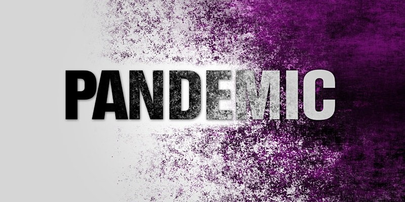 The word pandemic with a purple gradient behind it