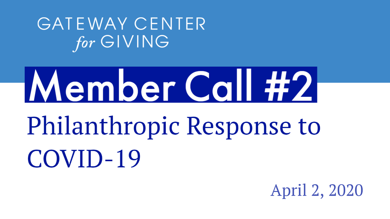 Slide with the text Member Call #2 Philanthropic Response to COVID-19