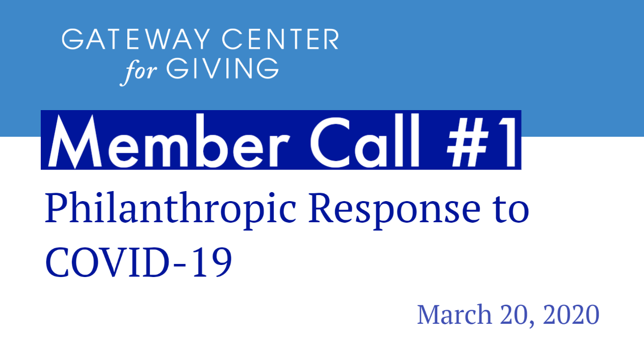 Slide with the text Member Call #1 Philanthropic Response to COVID-19